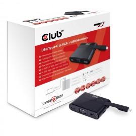 CLUB3D USB Tipo-C a VGA + USB 3.0 + USB Tipe-C Cargar Mini Dock